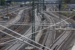 Railroad, rail tracks, railways and power supply lines Royalty Free Stock Photography