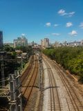 Railroad. Around the city with a beautiful blue sky on the deep Royalty Free Stock Photography