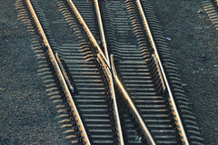 Railroad rails path train station Stock Photos