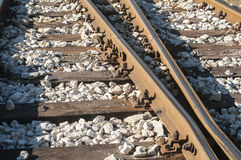 Railroad rails, sleepers and gravel Stock Photo