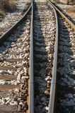 Railroad rails, sleepers and gravel Stock Image