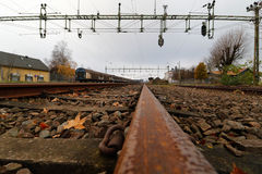 Railroad. Rails at a small Railway station in Southern Sweden Stock Photos