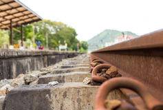 Railroad rails. Straight-line railway tracks on the gravel with realistic rusty rails Royalty Free Stock Image