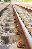 Railroad rails. Straight-line railway tracks on the gravel with realistic rusty rails Royalty Free Stock Photography