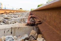 Railroad rails. Straight-line railway tracks on the gravel with realistic rusty rails Stock Image