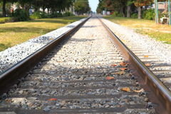 Railroad rails on a sunny day. Royalty Free Stock Photography