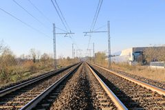 Railroad rails. Two sets of railroad tracks run straight and parallel Stock Image