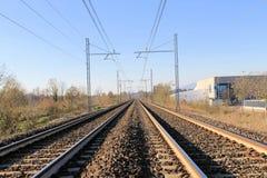 Railroad rails Stock Image