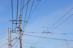 Railroad railway catenary lines Stock Photos
