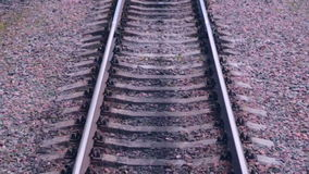 Railroad. Railway tracks from moving train. Travelling background. HD stock footage