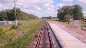 Railroad. Railway tracks from moving train. Travelling background. stock footage