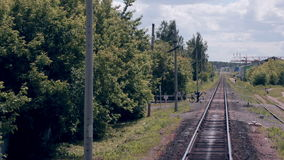 Railroad. Railway tracks from moving train. Travelling background. Railroad. Railway tracks from moving train. 1080p stock footage