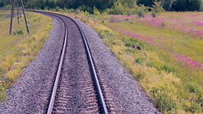 Railroad. Railway tracks from moving train. Travelling background. stock video footage