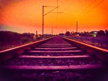 Railroad. Railway tracks at sunset evening royalty free stock images