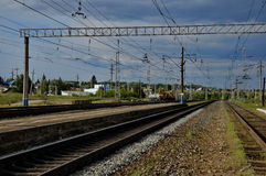 Railroad. Railways in Russia, passes through the village Royalty Free Stock Images