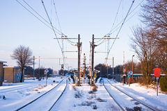 Railroad and railwaystation Royalty Free Stock Images