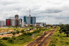 Railroad and rapidly developing central business district, Gaborone, Botswana, Africa, 2017 royalty free stock photography