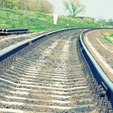 Railroad recedes into the distance Royalty Free Stock Photos