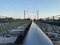 Railroad reflection. Photo taken on a railroad, somewhere in Focsani, Romania Stock Photos