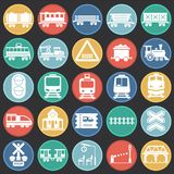 Railroad related icons set on color circles background for graphic and web design. Simple vector sign. Internet concept stock illustration