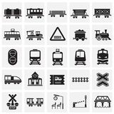 Railroad related icons set on squares background for graphic and web design. Simple vector sign. Internet concept symbol. For website button or mobile app royalty free illustration