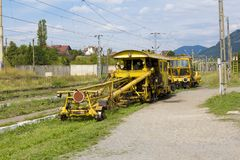 Railroad repair track. Stopped on a station in Romania Royalty Free Stock Photo