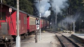 Railroad returning from peak of Brocken Mountain at Saxony-Anhalt. stock photos