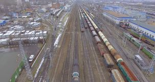 Railway ride trains and cisterns. Railroad ride trains and tank cars wagons rails stock footage