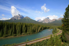 Railroad Through the Rocky Mountains Stock Photo
