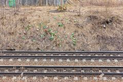 Railroad rubbish many glass bottles on the railway embankment royalty free stock photo