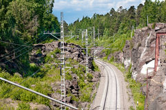 The railroad runs among the rocks Stock Image