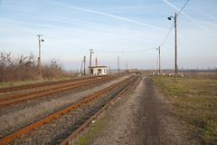 Railroad in rural area Stock Image