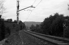Railroad in rural landscape Royalty Free Stock Photo