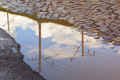The railroad`s electric line with a blue sky and clouds is reflected in a puddle. Old paving stones Royalty Free Stock Images