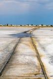 Railroad in salt lake Royalty Free Stock Photos