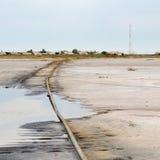 Railroad in salt lake Royalty Free Stock Images