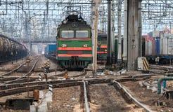 Railroad scene with bright locomotive Stock Photo