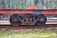 Railroad scene. With cargo train Stock Photos