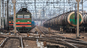 Railroad scene with cargo trains Stock Photography