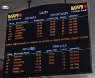 Railroad Schedule Board--Montreal, Canada Stock Image