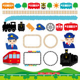 Railroad. Set of the railroad and the train illustrations stock illustration