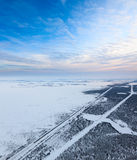 Railroad in Siberia, top view Royalty Free Stock Photo