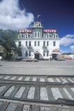 Railroad side hotel Stock Images