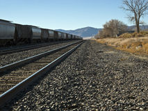 Railroad siding in a desert town Royalty Free Stock Photography