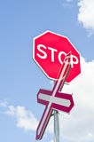 Railroad Sign. Perspective view of an  stop railroad sign Royalty Free Stock Image