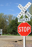 Railroad Signage. Railway caution signage at a roadway intersection Royalty Free Stock Photos