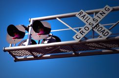 Railroad signal. A picture of an overhead railroad signal with red lights flashing Stock Photo