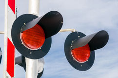Railroad Signals and Cloudy Sky Royalty Free Stock Images