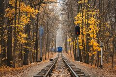 Free Railroad Single Track Through The Woods In Autumn. Fall Landscape. Red Stop Semaphore Signal. Last Railway Carriage Of Blue Train Stock Images - 169331224