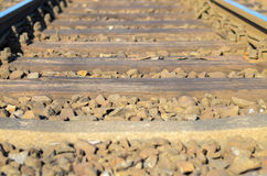 Railroad sleepers and stones Royalty Free Stock Images